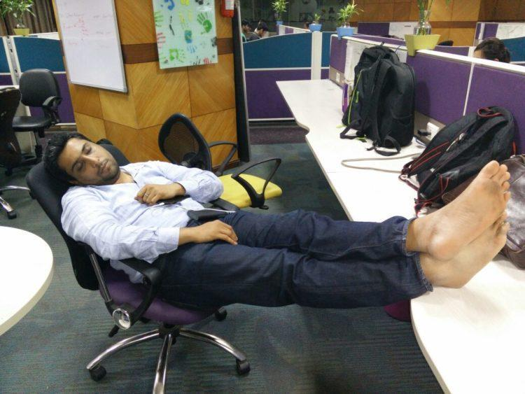 Employees sleeping in Knowlarity office after a night's work.