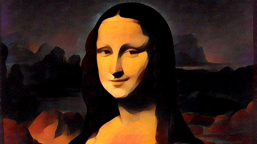 mona lisa From 1923, in reference to an enigmatic smile or expression like that in leonardo davinci's painting first attested in dh lawrence.