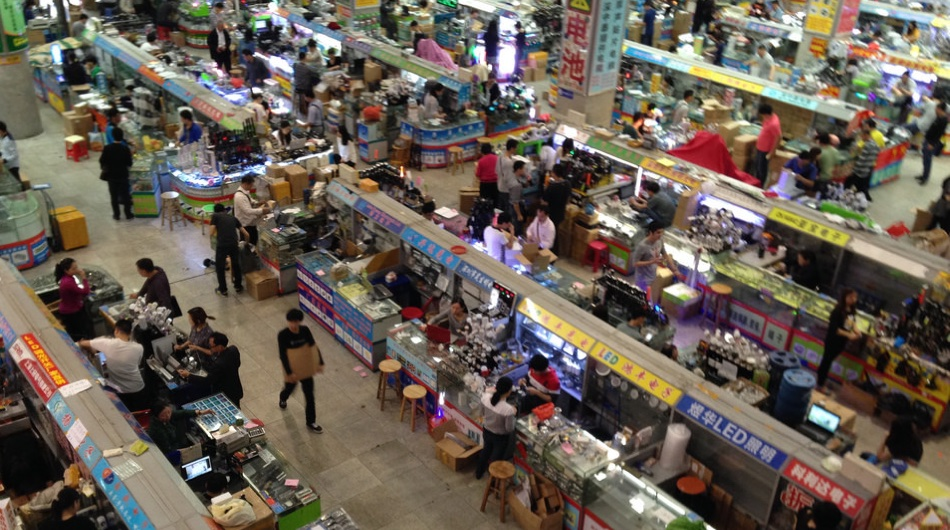 Huaqiangbei electronics markets in Shenzhen. Photo Credit: Tom Whitwell