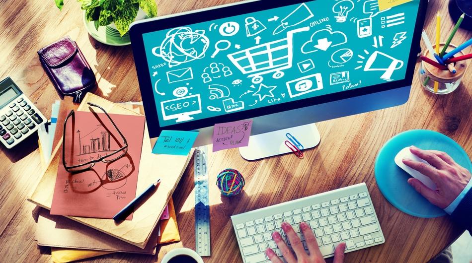 Online business, desk, clutter, computer, keyboard