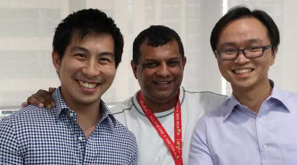 From left to right: ZAP CEO Dustin Cheng, Tune Labs co-founder Tony Fernandes, and ZAP COO Terence Lok.