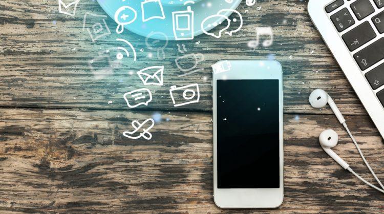 Mobile marketing, phone, laptop, advertising