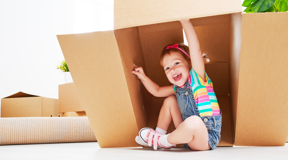 child, happy, box, boxes, growth