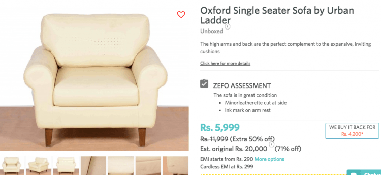 Unboxed sofa in Zefo