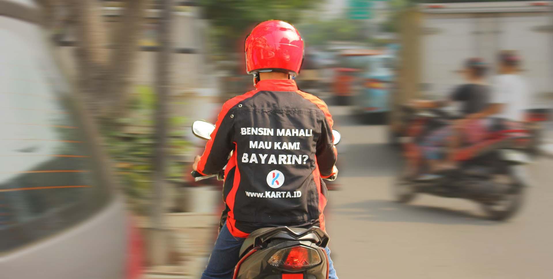 bensin karta Karta launches a motorcycle advertising service in Jakarta bensin karta