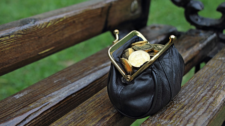 Coin purse on bench, money, wallet
