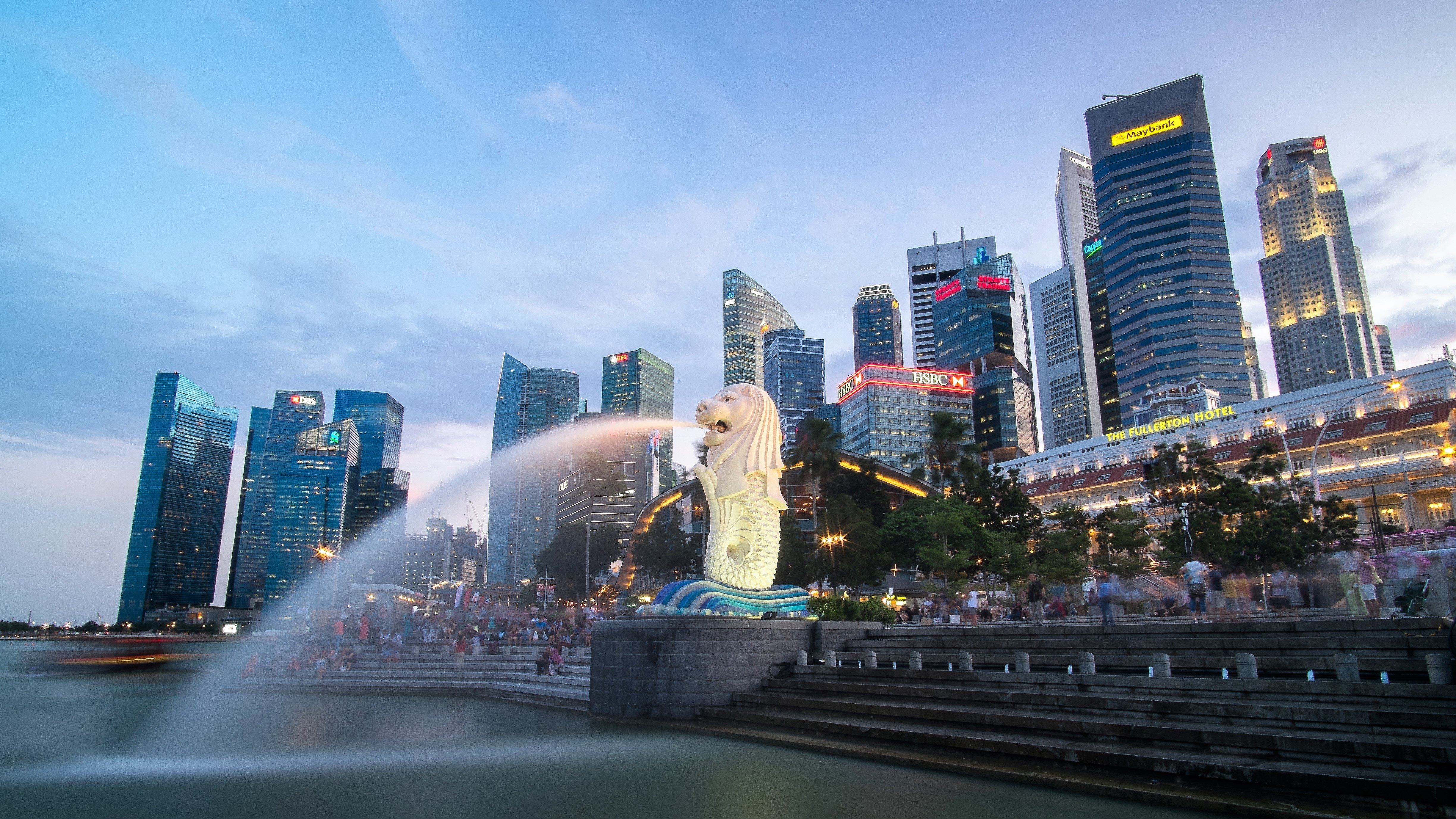 Singapore's Merlion and Central Business District