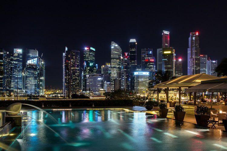 Singapore buildings at night