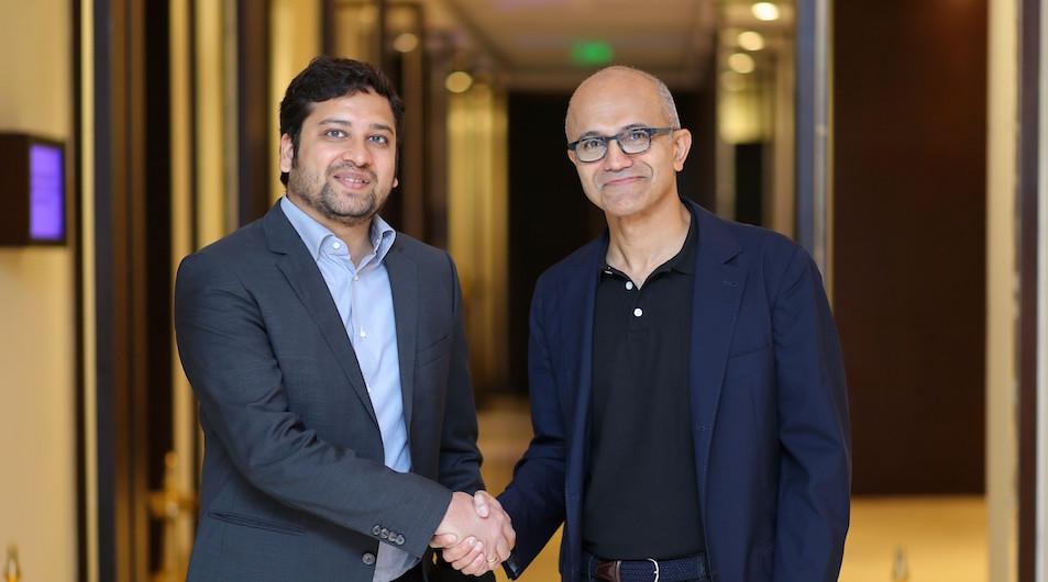 Binny Bansal, Group CEO of Flipkart with Satya Nadella, CEO of Microsoft