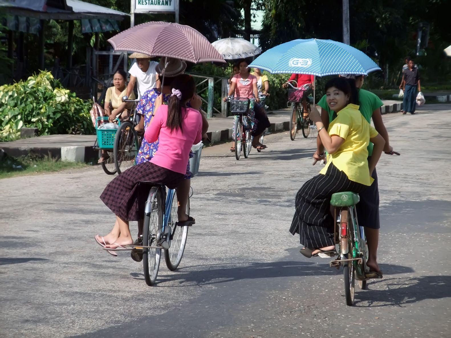 Myanwar - women on bike