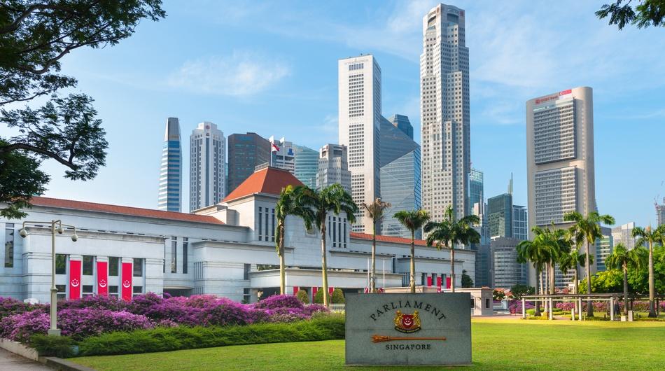 Singapore parliament with CBD area