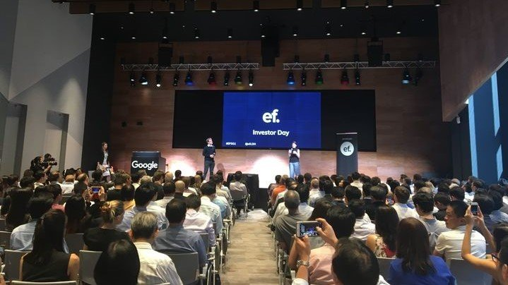 Entrepreneur First co-founders Matt Clifford and Alice Bentinck address the crowd at the company's first Singapore demo day