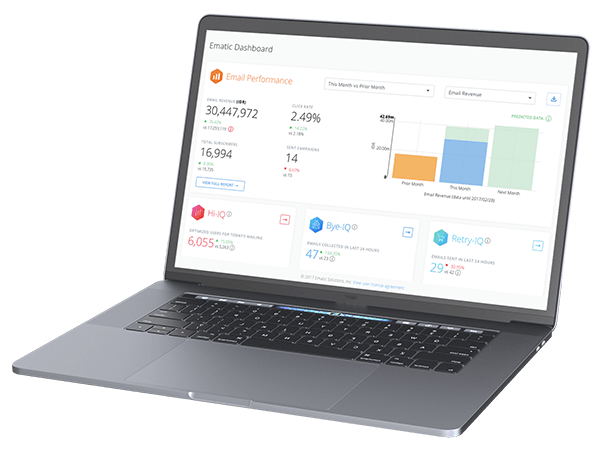 Ematic dashboard on laptop