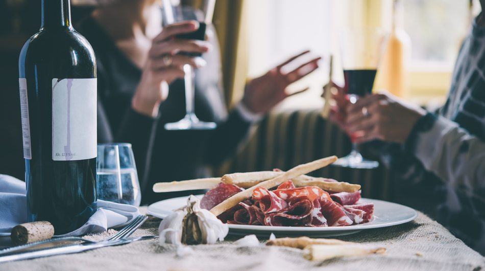Restaurant, table, wine, appetizers, couple, F&B