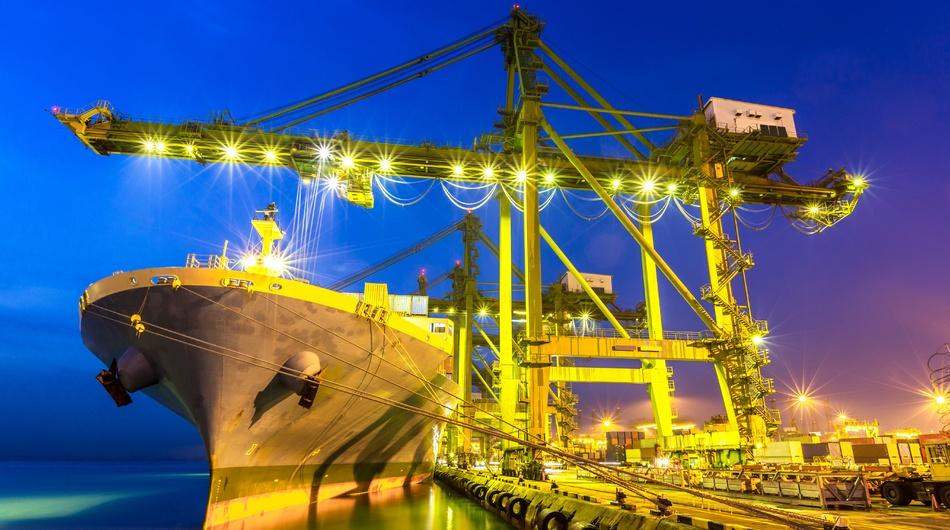 Singapore port, ship at berth, dock, loading, cargo, shipping