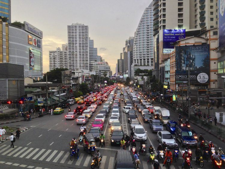 Traffic jam on Sukhumvit Road, Bangkok.