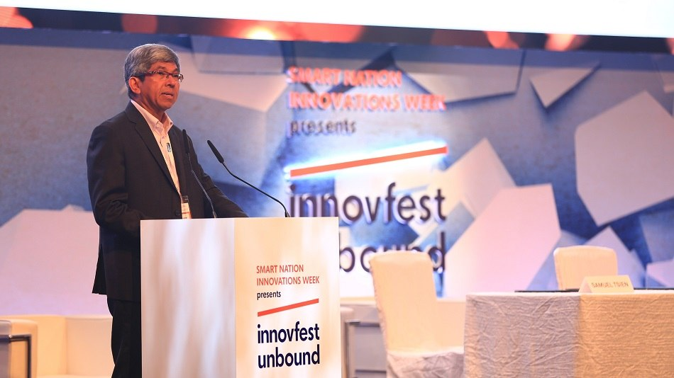 Minister for communications and information Dr. Yaacob Ibrahim announces AI.SG at Innovfest Unbound.