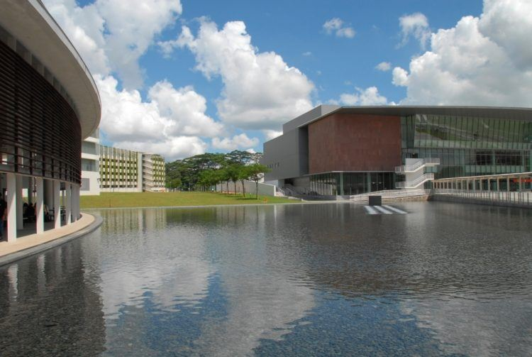Reflecting pool at Republic Polytechnic's Woodlands campus.