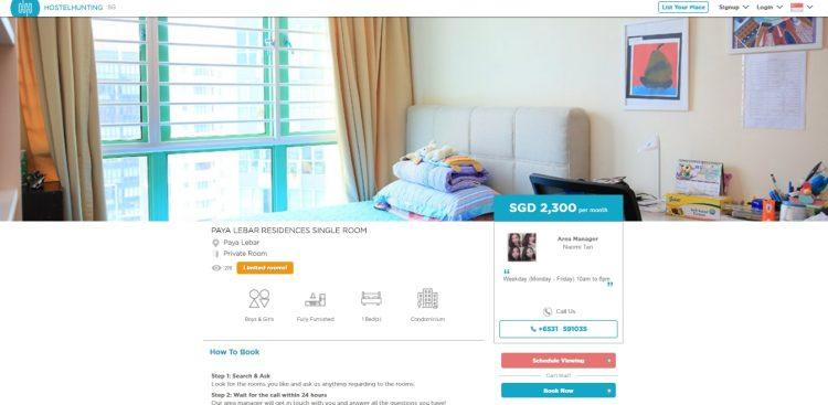 A university student's room listed on HostelHunting's Singapore website.