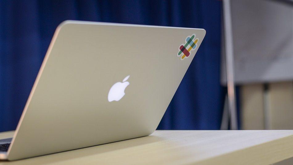 Slack logo on laptop