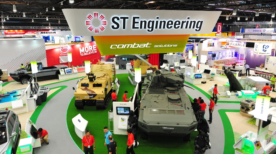 ST Engineering exhibition booth, defense industry