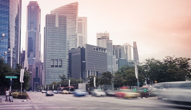 Singapore cityscape, cars zooming by, traffic, roads