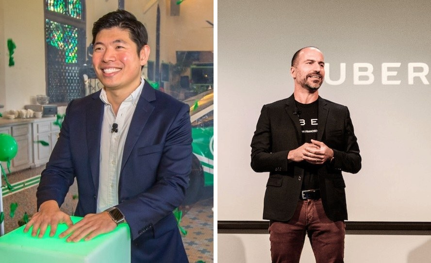 Grab and Uber CEOs Anthony Tan and Dara Khosrowshahi