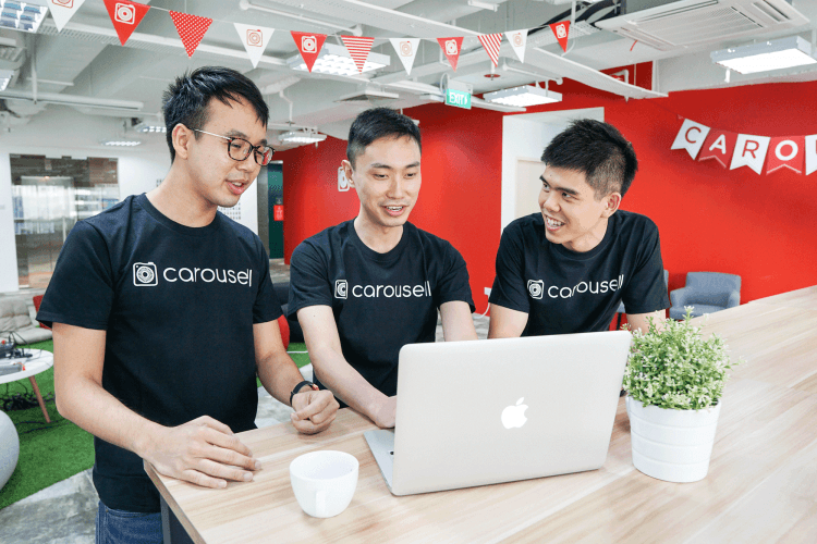 Carousell Co-founders, Marcus Tan, Lucas Ngoo and Quek Siu Rui