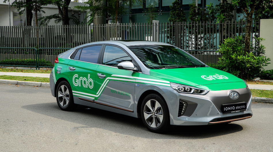 A Grab-branded electric Hyundai Ioniq car. Image: Grab