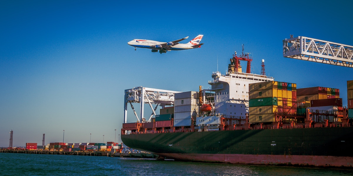 Airplane and cargo ship