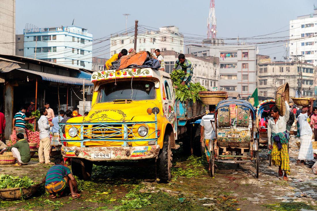 Market in the busy capital of Dhaka, Bangladesh